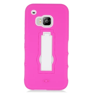Insten Hot Pink/ White Symbiosis Soft Silicone/ PC Dual Layer Hybrid Rubber Case Cover with Stand For HTC One M9