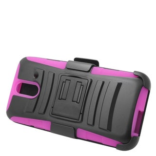 Insten Black/ Hot Pink Hard PC/ Silicone Dual Layer Hybrid Case Cover with Stand/ Holster For HTC One E8