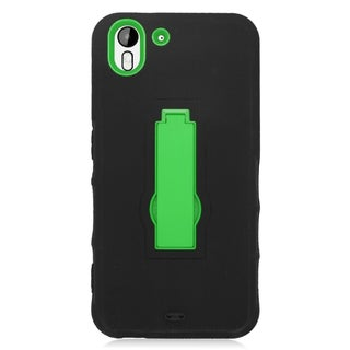 Insten Black/ Green Symbiosis Soft Silicone/ PC Dual Layer Hybrid Rubber Case Cover with Stand For HTC Desire Eye