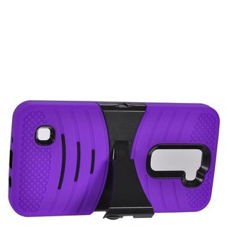 Insten Purple/ Black Wave Symbiosis Soft Silicone/ PC Dual Layer Hybrid Rubber Case Cover with Stand For LG K7
