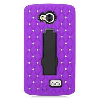 Insten Purple/ Black Symbiosis Soft Silicone/ PC Dual Layer Hybrid Rubber Case Cover with Stand/ Diamond For LG Tribute