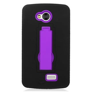 Insten Black/ Purple Symbiosis Soft Silicone/ PC Dual Layer Hybrid Rubber Case Cover with Stand For LG Tribute