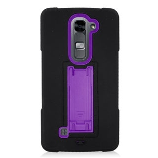 Insten Black/ Purple Symbiosis Soft Silicone/ PC Dual Layer Hybrid Rubber Case Cover with Stand For LG Volt 2