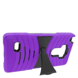 Insten Purple/ Black Wave Symbiosis Soft Silicone/ PC Dual Layer Hybrid Rubber Case Cover with Stand For LG G Stylo/ G Vista 2