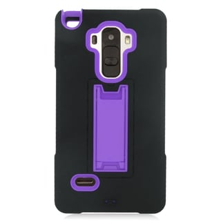 Insten Black/ Purple Symbiosis Soft Silicone/ PC Dual Layer Hybrid Rubber Case Cover with Stand For LG G Stylo/ G Vista 2