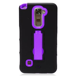 Insten Black/ Purple Symbiosis Soft Silicone/ PC Dual Layer Hybrid Rubber Case Cover with Stand For LG Stylus 2