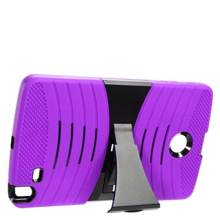 Insten Purple/ Black Wave Symbiosis Soft Silicone/ PC Dual Layer Hybrid Rubber Case Cover with Stand For LG G Pad 8.0
