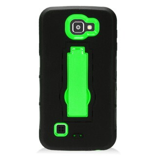 Insten Black/ Green Symbiosis Soft Silicone/ PC Dual Layer Hybrid Rubber Case Cover with Stand For LG Optimus Zone 3/ Spree