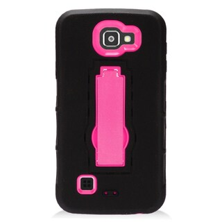 Insten Black/ Hot Pink Symbiosis Soft Silicone/ PC Dual Layer Hybrid Rubber Case Cover with Stand For LG Optimus Zone 3/ Spree