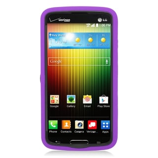 Insten Purple/ Black Wave Symbiosis Soft Silicone/ PC Dual Layer Hybrid Rubber Case Cover with Stand For LG Lucid 3