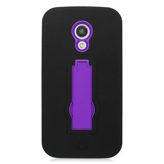 Insten Black/ Purple Symbiosis Soft Silicone/ PC Dual Layer Hybrid Rubber Case Cover with Stand For Motorola Moto G(2nd Gen)