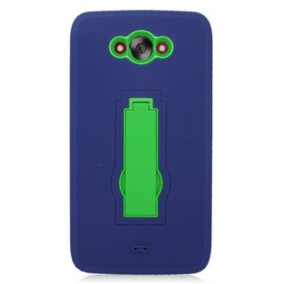 Insten Blue/ Green Symbiosis Soft Silicone/ PC Dual Layer Hybrid Rubber Case Cover with Stand For Motorola Droid Turbo