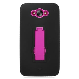 Insten Black/ Hot Pink Symbiosis Soft Silicone/ PC Dual Layer Hybrid Rubber Case Cover with Stand For Motorola Droid Turbo