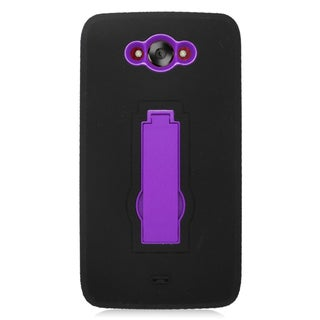 Insten Black/ Purple Symbiosis Soft Silicone/ PC Dual Layer Hybrid Rubber Case Cover with Stand For Motorola Droid Turbo
