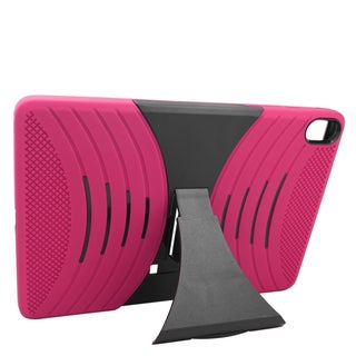 Insten Hot Pink/ Black Wave Symbiosis Soft Silicone/ PC Dual Layer Hybrid Rubber Case Cover with Stand For HTC Google Nexus 9