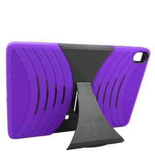 Insten Purple/ Black Wave Symbiosis Soft Silicone/ PC Dual Layer Hybrid Rubber Case Cover with Stand For HTC Google Nexus 9