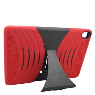 Insten Red/ Black Wave Symbiosis Soft Silicone/ PC Dual Layer Hybrid Rubber Case Cover with Stand For HTC Google Nexus 9