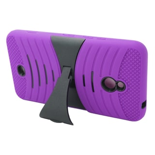 Insten Purple/ Black Wave Symbiosis Soft Silicone/ PC Dual Layer Hybrid Rubber Case Cover with Stand For Nokia Lumia 1320