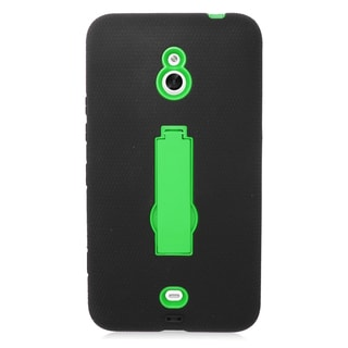 Insten Black/ Green Symbiosis Soft Silicone/ PC Dual Layer Hybrid Rubber Case Cover with Stand For Nokia Lumia 1320