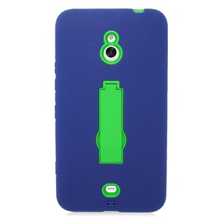 Insten Blue/ Green Symbiosis Soft Silicone/ PC Dual Layer Hybrid Rubber Case Cover with Stand For Nokia Lumia 1320
