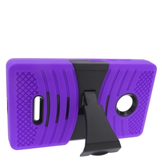 Insten Purple/ Black Wave Symbiosis Soft Silicone/ PC Dual Layer Hybrid Rubber Case Cover with Stand For Microsoft Lumia 435