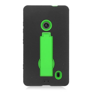 Insten Black/ Green Symbiosis Soft Silicone/ PC Dual Layer Hybrid Rubber Case Cover with Stand For Nokia Lumia 520