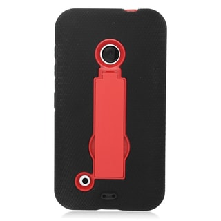 Insten Black/ Red Symbiosis Soft Silicone/ PC Dual Layer Hybrid Rubber Case Cover with Stand For Nokia Lumia 530