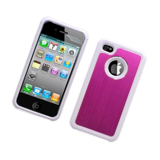 Insten White/ Hot Pink Hard PC/ Silicone Dual Layer Hybrid Rubberized Matte Case Cover For Apple iPhone 4/ 4S