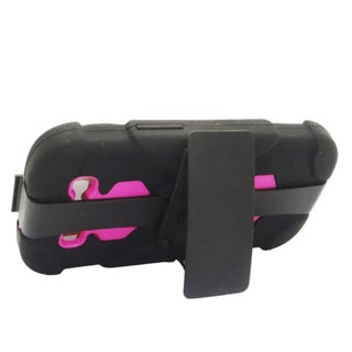 Insten Black/ Hot Pink Hard PC/ Silicone Dual Layer Hybrid Rubberized Matte Case Cover with Holster For Samsung Galaxy S3