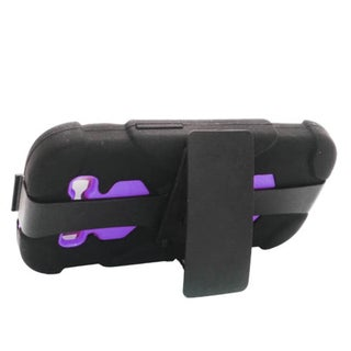 Insten Black/ Purple Hard PC/ Silicone Dual Layer Hybrid Rubberized Matte Case Cover with Holster For Samsung Galaxy S3
