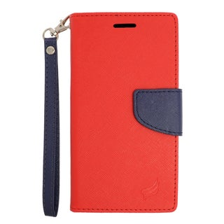 Insten Red/ Blue Leather Case Cover Lanyard with Stand/ Wallet Flap Pouch For Alcatel One Touch Elevate