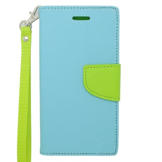 Insten Blue/ Green Leather Case Cover Lanyard with Stand/ Wallet Flap Pouch For Apple iPhone 6 Plus/ 6s Plus