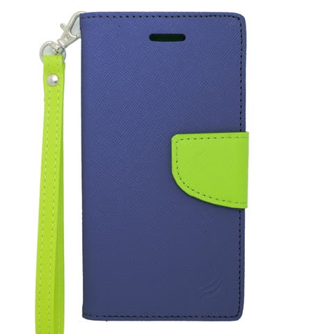 Insten Blue/ Green Leather Case Cover Lanyard with Stand/ Wallet Flap Pouch For Apple iPhone 6/ 6s