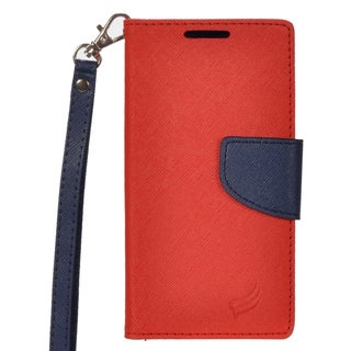 Insten Red/ Blue Leather Case Cover Lanyard with Stand/ Wallet Flap Pouch For Huawei Union