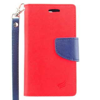 Insten Red/ Blue Leather Case Cover Lanyard with Stand/ Wallet Flap Pouch For LG Escape 2