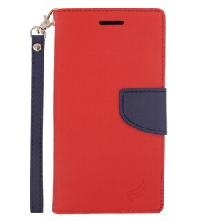 Insten Red/ Blue Leather Case Cover Lanyard with Stand/ Wallet Flap Pouch For LG G4