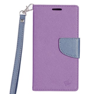 Insten Purple/ Blue Leather Case Cover Lanyard with Stand/ Wallet Flap Pouch For LG Optimus Zone 3/ Spree