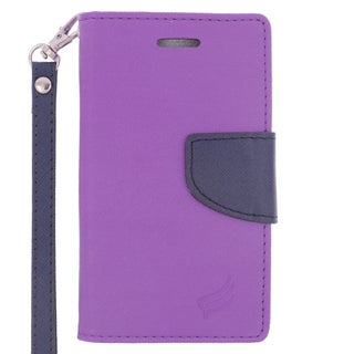 Insten Purple/ Blue Leather Case Cover Lanyard with Stand/ Wallet Flap Pouch For Microsoft Lumia 435