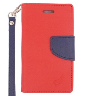 Insten Red/ Blue Leather Case Cover Lanyard with Stand/ Wallet Flap Pouch For Microsoft Lumia 435