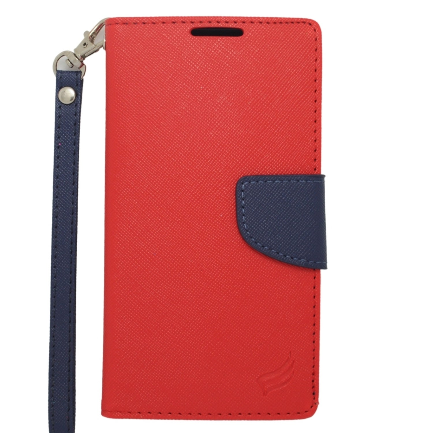 Insten Red/ Blue Leather Case Cover Lanyard with Stand/ W...