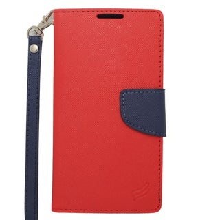 Insten Red/ Blue Leather Case Cover Lanyard with Stand/ Wallet Flap Pouch For Motorola Droid Turbo