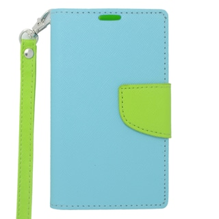 Insten Blue/ Green Leather Case Cover Lanyard with Stand/ Wallet Flap Pouch For Nokia Lumia 521