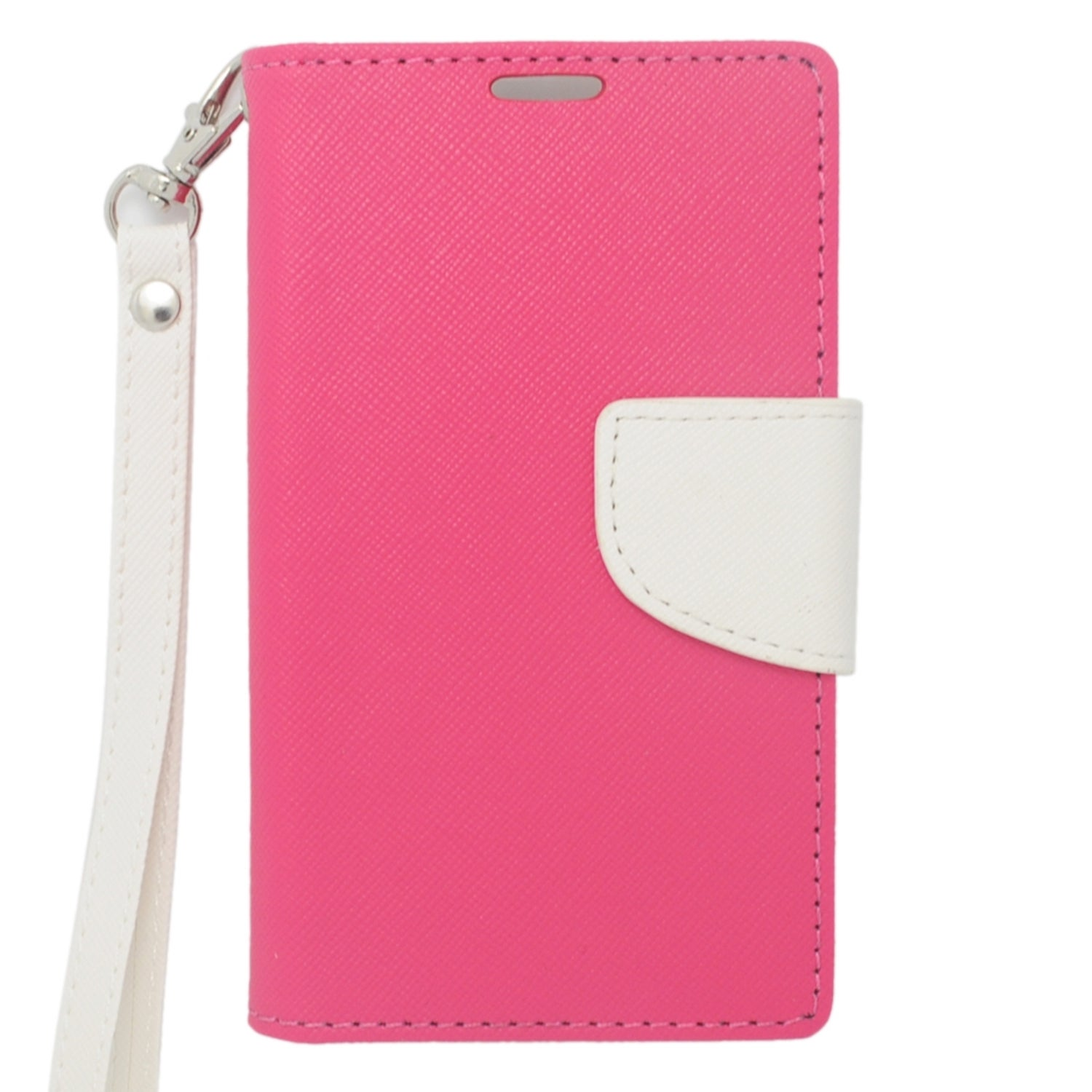 Insten Hot Pink/ White Leather Case Cover Lanyard with St...