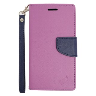 Insten Purple/ Blue Leather Case Cover Lanyard with Stand/ Wallet Flap Pouch For Samsung Galaxy Note 5