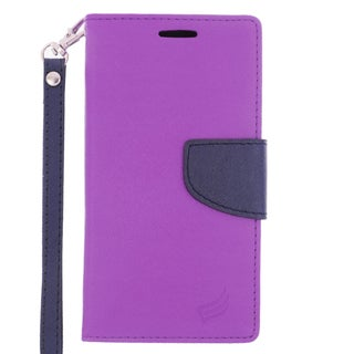 Insten Purple/ Blue Leather Case Cover Lanyard with Stand/ Wallet Flap Pouch For Samsung Galaxy S6