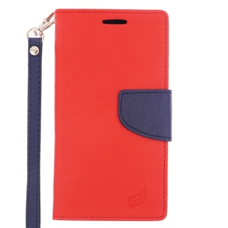 Insten Red/ Blue Leather Case Cover Lanyard with Stand/ Wallet Flap Pouch For Samsung Galaxy S6