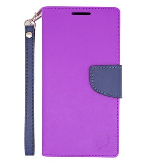 Insten Purple/ Blue Leather Case Cover Lanyard with Stand/ Wallet Flap Pouch For Sony Xperia Z3v