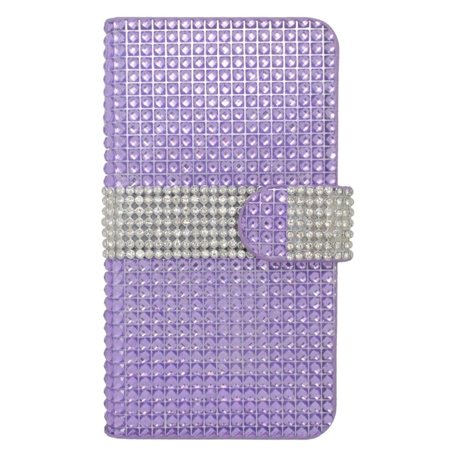 Insten Purple/ Silver Leather Rhinestone Bling Case Cover...