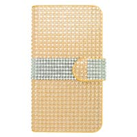 Insten Gold/ Silver Leather Rhinestone Bling Case Cover with Wallet Flap Pouch For LG Optimus Zone 3/ Spree