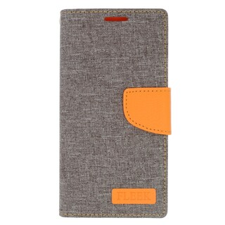 Insten Gray/ Orange Leather Case Cover with Stand/ Wallet Flap Pouch/ Photo Display For LG Volt 2